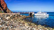 Visitors boarding boat at Scorpion Cove, Santa Cruz Island, Channel Islands National Park, California USA