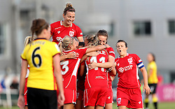 Bristol City Women celebrate Claire Emslie of Bristol City Women scoring the opening goal against Watford Ladies - Mandatory by-line: Robbie Stephenson/JMP - 10/09/2016 - FOOTBALL - Stoke Gifford Stadium - Bristol, England - Bristol City Women v Watford Ladies - FA Women's Super League 2