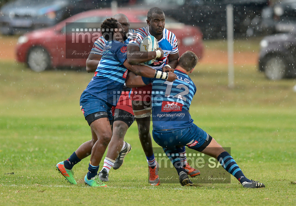 Saturday 21 March 2015<br /> TC Khoza of COLLEGE ROVERS, Ben SEKGOBELA of RAIDERS RUGBY CLUB and Kobus Lourens of COLLEGE ROVERS during the Cell C Comm Cup Round 5 match,<br /> Raiders vs Jonsson College Rovers <br /> <br /> Photo: imagesa