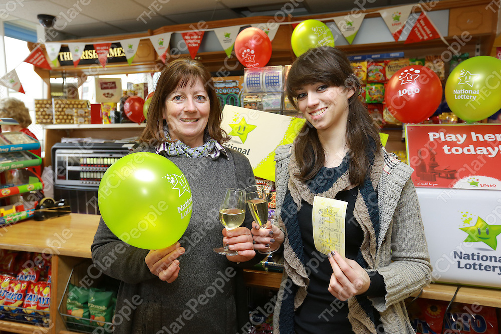 Mary Miniter &amp; Maggie O'Doherty celebrate after selling the &euro;8 million lottery ticket in Miniters Newsagent &amp; Grocers Shop in Kilrush Co.Clare<br /> Picture  Credit Brian GavinPress 22