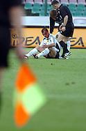 n/z.: kontuzja Veselin Djokovic (nr16-Legia) , sedzia Robert Malek podczas meczu ligowego Legia Warszawa (biale) - Lech Poznan (niebieskie-biale) 3:0 , I liga polska , 21 kolejka sezon 2004/2005 , pilka nozna , Polska , Warszawa , 07-05-2005 , fot.: Adam Nurkiewicz / mediasport..injury Veselin Djokovic (nr16-Legia) , refree Robert Malek during Polish league first division soccer match in Warsaw. May 07, 2005 ; Legia Warsaw (white) - Lech Poznan (blue-white) 3:0 ; first division , 21 round season 2004/2005 , football , Poland , Warsaw ( Photo by Adam Nurkiewicz / mediasport )