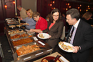(from left) Karl Dean, Julie Denning, Marilyn Steiner, Necia Nicholas and Jerry Ellender as Riverside Area Chamber of Commerce hosts an International Night featuring Indian and American food at the Filling Station Sports Bar & Grill in Riverside, Monday, March 26, 2012.  Owner Doctor Suresh Gupta prepared Indian cuisine including Bean Sprout Cucumber Salad, Butter Chicken, Samosas, Rice/Naan Bread and Veggie Khorma.