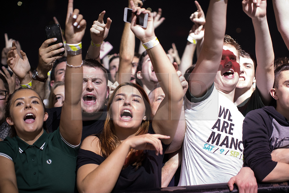 © Licensed to London News Pictures . 09/09/2017. Manchester , UK . Crowd for Courteeners . We Are Manchester reopening charity concert at the Manchester Arena with performances by Manchester artists including  Noel Gallagher , Courteeners , Blossoms and the poet Tony Walsh . The Arena has been closed since 22nd May 2017 , after Salman Abedi's terrorist attack at an Ariana Grande concert killed 22 and injured 250 . Money raised will go towards the victims of the bombing . Photo credit: Joel Goodman/LNP