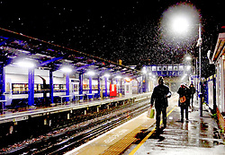 © Licensed to London News Pictures. 01/02/2019. Gravesend, UK. Snowfall at Gravesend station in Kent which has caused delays and cancellations to the rail service, as large parts of the UK are deluged with snow and freeing temperatures. Photo credit: Fraser Gray/LNP