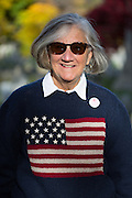 Jill Crooker poses for a portrait after visiting the gravesite of Susan B. Anthony, the social reformer who played a key part in the movement for women's suffrage, at Mount Hope Cemetery in Rochester on Tuesday, November 8, 2016.<br /> <br /> &quot;I knit this sweater in 1990. My son was in the Navy, and he was aboard a ship going to the Persian Gulf, and I made it as therapy. I always wear it on Election Day.&quot;<br /> <br /> &quot;Susan B. Anthony typified people like Hillary, who had values and stuck with them.&quot;