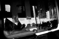 Pomigliano D´Arco, Italia - 14 dicembre 2011. Proteste dei lavoratori iscritti allla FIOM dello stabilimento FIAT di Pomigliano D´Arco all´esterno della fabbrica dove si è svolta la cerimonia di presentazione della nuova Panda al cospetto del presidente FIAT John Elkann e dell´amministartore delegato Sergio Marchionne. Ph. Roberto Salomone Ag. Controluce ITALY - FIAT workers of the Pomigliano D´Arco plant protest outside the gates of the factory on the day of the presentation of the new FIAT Panda on December 14, 2011.