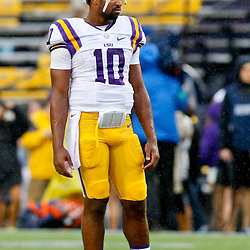 Sep 21, 2013; Baton Rouge, LA, USA; LSU Tigers quarterback Anthony Jennings (10) before a game against the Auburn Tigers at Tiger Stadium. Mandatory Credit: Derick E. Hingle-USA TODAY Sports