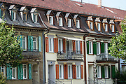 Buildings in Appenzell village, Switzerland, Europe. Appenzell Innerrhoden is Switzerland's most traditional and smallest-population canton (second smallest by area).