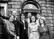 An Irish Red Cross Society/Cumann Croise Deirge h&Eacute;ireann medical team at the Society headquarters in Dublin, in advance of a humanitarian mission to Kampuchea (Cambodia) and Thailand. From left: Anne Hickey, Dr Pat Donohoe, Patricia Tobin, Michael McCarthy, Bridget Lyons, Philomena Mulligan and Katherine Hyland.<br /> 29 February 1980