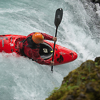 A kayaker drops into chaos falls during the Slalom event of the Little White Salmon Race Sunday, May 26, 2013 on the Little White Salmon River.
