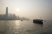 Hong Kong Island and the Star Ferry at the harbour seen from Kowloon.