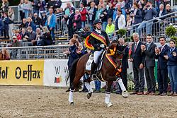FISCHER Tanja (GER), Cosmo Callidus NRW<br /> Warendorf - Bundeschampionate 2019<br /> Parade der Sieger<br /> Bundeschampion 4 jährige Reitpony Hengste<br /> 08. September 2019<br /> © www.sportfotos-lafrentz.de/Stefan Lafrentz