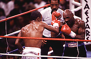 "6 Apr 1987:  Sugar Ray Leonard, left, battles ""Marvelous"" Marvin Hagler, right, during a middleweight bout at Caesars Palace in Las Vegas, NV. Leonard won the fight in a 12 round decision.."