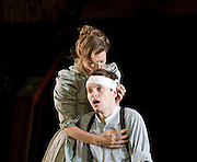 The Seagull <br /> by Anton Chekhov <br /> a new version by Torben Betts<br /> directed by Matthew Dunster<br /> at Regent's Park Open Air Theatre, London, Great Britain <br /> press photocall <br /> 22nd June 2015 <br /> <br /> Janie Dee as Irina<br /> Matthew Tennyson as Konstantin<br /> <br /> <br /> <br /> Photograph by Elliott Franks <br /> Image licensed to Elliott Franks Photography Services