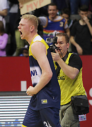 12.04.2015, Brose Arena, Bamberg, GER, Beko Basketball BL, Brose Baskets Bamberg vs EWE Baskets Oldenburg, Top Four 2015, Finale, im Bild Philipp Neumann ( EWE Baskets Oldenburg ) freude nach dem Sieg // during the Beko Basketball Bundes league TOP FOUR 2015 final match between Brose Baskets Bamberg and EWE Baskets Oldenburg at the Brose Arena in Bamberg, Germany on 2015/04/12. EXPA Pictures © 2015, PhotoCredit: EXPA/ Eibner-Pressefoto/ Langer<br /> <br /> *****ATTENTION - OUT of GER*****