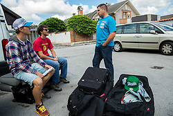 Matija Grasic, Andrej Jerman and Mitja Kunc at departure of Slovenian Men Ski Team to training camp in Argentina and Chile on August 21, 2014 in SZS, Ljubljana, Slovenia. Photo by Vid Ponikvar / Sportida.com
