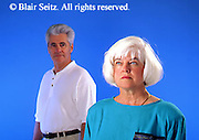 Active Aging Senior Citizens, Retired, Activities, Informal Portrait Elderly Couple Thoughtful, Decisions, Couple Apart