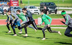 Jaka Hvala, Anze Semenic, Peter Prevc, Nejc Dezman, Cene Prevc and Robert Kranjec during fitness training of Slovenian Ski jumping National A team, on May 6, 2016, in Stadium Kranj, Slovenia.Photo by Vid Ponikvar / Sportida