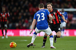 Dan Gosling of Bournemouth passes under pressure from Seamus Coleman of Everton - Mandatory by-line: Jason Brown/JMP - Mobile 07966 386802 28/11/2015 - SPORT - FOOTBALL - Bournemouth, Vitality Stadium - AFC Bournemouth v Everton - Barclays Premier League