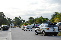 March 2, 2018 - West Palm Beach, Florida, U.S. - Palm Beach County Sheriff's Office vehicles are seen at the 1100 block of Hiawatha Avenue in West Palm Beach, Fla., on Friday, March 2, 2018. A Friday afternoon shooting on Hiawatha Avenue shooting left two people dead and one injured according to PBSO. (Credit Image: © Andres Leiva/The Palm Beach Post via ZUMA Wire)