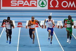 06-03-2011 ATHELETICS: EUROPEAN ATHLETICS INDOOR CHAMPIONSHIPS: PARIS<br /> European Athletics Indoor Championships Paris / (L-R) Dwain Chambers GBR, Brian Mariano, Christophe Lemaitre FRA, Francis Obikwelu POR<br /> © Ronald Hoogendoorn Photography