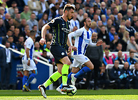 BRIGHTON, ENGLAND - MAY 12:   Aymeric Laporte (14) of Manchester City on the attack during the Premier League match between Brighton & Hove Albion and Manchester City at American Express Community Stadium on May 12, 2019 in Brighton, United Kingdom. (MB Media)