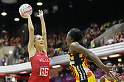England Women GS Helen Housby shoots during the Netball World Cup 2019 Preparation match between England Women and Uganda at Copper Box Arena, Queen Elizabeth Olympic Park, United Kingdom on 30 November 2018.