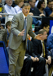 January 9, 2010; Berkeley, CA, USA;  California Golden Bears head coach Mike Montgomery during the second half against the Southern California Trojans at the Haas Pavilion.  California defeated USC 67-59.