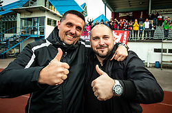 Dejan Doncic, head coach of Triglav and Sinisa Brkic, director of Triglav celebrate after the football match between NK Triglav Kranj and NK Domzale in 35th Round of Prva liga Telekom Slovenije 2018/19, on May 22nd, 2019, in Sports park Kranj, Slovenia. Photo by Vid Ponikvar / Sportida