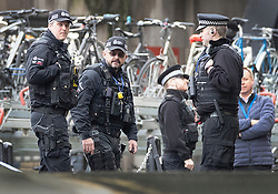 © Licensed to London News Pictures. 05/03/2019. London, UK. Armed police are seen at Waterloo Station as police deal with a suspicious package. The Metropolitan Police counter terrorism command has said that small improvised explosive devices have been found at the station, at Heathrow and London City airport. Photo credit: Peter Macdiarmid/LNP