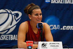 March 18, 2011; Stanford, CA, USA; Stanford Cardinal guard Jeanette Pohlen (23) speaks at a press conference the day before the first round of the 2011 NCAA women's basketball tournament at Maples Pavilion.