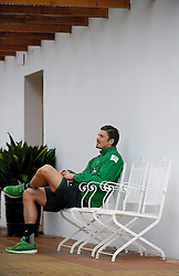 13.01.2014, Teamhotel, Jerez de la Frontera, ESP, FS Vorbereitung, SV Werder Bremen, Trainingslager, im Bild Sebastian Prödl / Proedl (Bremen #15) entspannt nach dem Training auf einem Gusseisernen Gartenstuhl sitzend // Sebastian Prödl / Proedl (Bremen #15) entspannt nach dem Training auf einem Gusseisernen Gartenstuhl sitzend after a practice session at the training camp of the German Bundesliga Club SV Werder Bremen at the Teamhotel in Jerez de la Frontera, Spain on 2014/01/13. EXPA Pictures © 2014, PhotoCredit: EXPA/ Andreas Gumz<br /> <br /> *****ATTENTION - OUT of GER*****