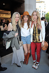 Left to right, ALEXANDRA HOFFNUNG, ANOUSHKA BECKWITH and MARY CHARTERIS at the opening party for Nicholas Kirkwood's new store at 5 Mount Street, London on 12th May 2011.
