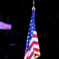 05 January 2014: The US National Flag is seen during the National Anthem prior to the Atlanta Hawks 107-98 victory over the Los Angeles Clippers, at the Staples Center, Los Angeles, California, USA.