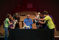 """Gilmanton Elementary students along with Artists in Residence Andrew and Bonnie Periale perform """"Scenes from Ancient Pompeii"""" Wednesday, March 27, 2013.  Karen Bobotas/for the Laconia Daily Sun"""
