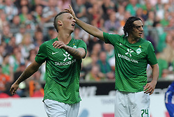 25.09.2011, Weserstadion, Bremen, GER, 1.FBL, Werder Bremen vs Hertha BSC, im Bild Marko Arnautovic (Bremen #7, links) ärgert sich, rechts Claudio Pizarro (Bremen #24)..// during the match Werder Bremen vs Hertha BSC on 2011/09/25, Weserstadion, Bremen, Germany..EXPA Pictures © 2011, PhotoCredit: EXPA/ nph/  Frisch       ****** out of GER / CRO  / BEL ******
