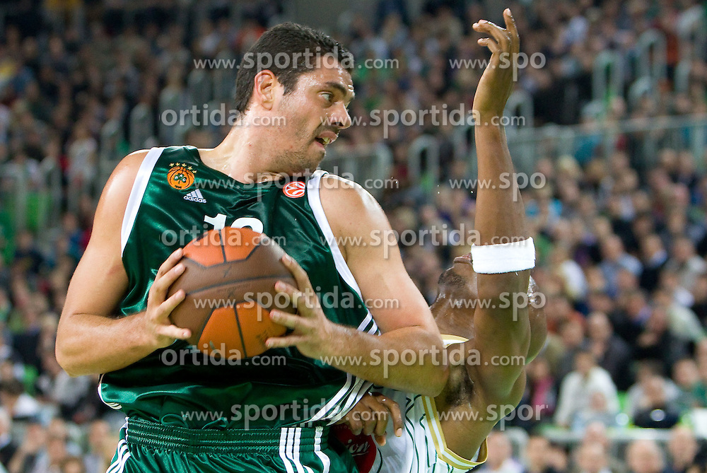 Kostas Tsartsaris of Panathinaikos  vs Kenny Gregory (9) of Olimpija during basketball match between KK Union Olimpija (SLO) and Panathinaikos (GRE) in Group D of Turkish Airlines Euroleague, on November 4, 2010 in Arena Stozice, Ljubljana, Slovenia. (Photo By Vid Ponikvar / Sportida.com)