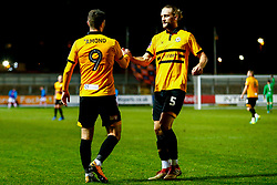Padraig Amond of Newport County and Fraser Franks of Newport County celebrate a own goal from Wrexham - Mandatory by-line: Ryan Hiscott/JMP - 11/12/2018 - FOOTBALL - Rodney Parade - Newport, Wales - Newport County v Wrexham - Emirates FA Cup second round proper