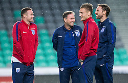 Wayne Rooney, first team coach Steve Holland, Jamie Vardy and Interim Manager Gareth Southgate during a tour of the stadium before an England press conference ahead of the football match between National teams of Slovenia and England in Round #3 of FIFA World Cup Russia 2018 Qualifier Group F, on October 10, 2016 in SRC Stozice, Ljubljana, Slovenia. Photo by Vid Ponikvar / Sportida
