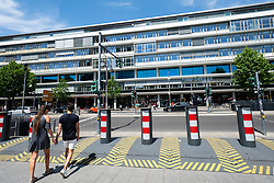 Security barriers on Budapester Strasse at Europa Center in Berlin , Germany
