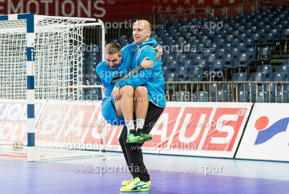 Gasper Marguc of Slovenia and Gorazd Skof of Slovenia during practice session of Team Slovenia on Day 1 of Men's EHF EURO 2016, on January 15, 2016 in Centennial Hall, Wroclaw, Poland. Photo by Vid Ponikvar / Sportida