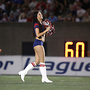 A member of the Boston Cannons Dance Team is seen on the field during a break in the game at Harvard Stadium on August 9, 2014 in Boston, Massachusetts. (Photo by Elan Kawesch)