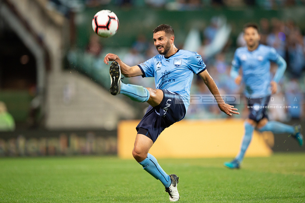 SYDNEY, AUSTRALIA - APRIL 06: Sydney FC defender Michael Zullo (7) kicks the ball at round 24 of the Hyundai A-League Soccer between Sydney FC and Melbourne Victory on April 06, 2019, at The Sydney Cricket Ground in Sydney, Australia. (Photo by Speed Media/Icon Sportswire)