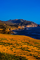 View of the Big Sur coastline from Notleys Landing, between Carmel Highlands and Big Sur, Monterey County, California.