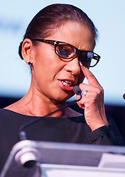 "© Licensed to London News Pictures. 12/05/2017. London, UK. GINA MILLER wipes a tear from her eye while speaking on the impact of Brexit at ""The Convention on Brexit"" event at Westminster Central Hall in London on Friday, 12 May 2017. Photo credit: Tolga Akmen/LNP"