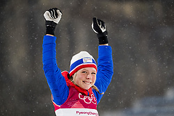 February 12, 2018 - Pyeongchang, SOUTH KOREA - 180212 Maren Lundby of Norway celebrates after winning gold in Ski Jumping, Women's Normal Hill Individual Final, during day three of the 2018 Winter Olympics on February 12, 2018 in Pyeongchang..Photo: Joel Marklund / BILDBYRÃ…N / kod JM / 87619 (Credit Image: © Joel Marklund/Bildbyran via ZUMA Press)