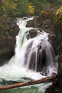 The Upper Falls in Little Qualicum Falls Provincial Park on Vancouver Island, British Columbia, Canada