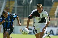 Siena 29-05-2005<br />Campionato di calcio serie A 2004-05 Siena Atalanta<br />Nella foto Motta e Flo<br />Foto Snapshot / Graffiti