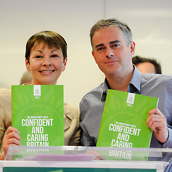 © Licensed to London News Pictures. 22/05/2017. London, UK.  Caroline Lucas and Jonathan Bartley, Co-Leaders of the Green Party, launch the party's manifesto ahead of the upcoming General Election at a press conference in central London.  Photo credit : Stephen Chung/LNP