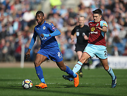 Kelechi Iheanacho of Leicester City (L) and Matthew Lowton of Burnley in action - Mandatory by-line: Jack Phillips/JMP - 14/04/2018 - FOOTBALL - Turf Moor - Burnley, England - Burnley v Leicester City - English Premier League